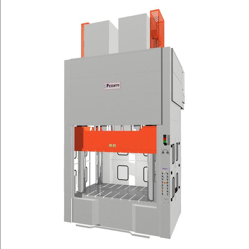 Pressa per lo stampaggio di materiali compositi e fibre di carbonio